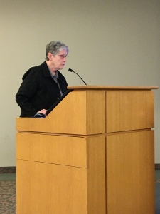 Sister Kerry O'Reilly, President of the Federation of St. Benedict, giving a presentation.